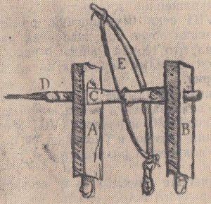 Примитивный лучковый станок для просверливания костей, предложенный ВезалиемПримитивный лучковый станок для просверливания костей, предложенный Везалием