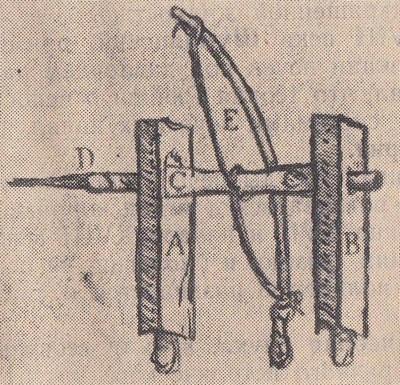 Примитивный лучковый станок для просверливания костей, предложенный Везалием