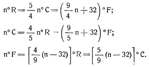 Формулы перевода температуры одной шкалы градусов (Реомюра, Цельсия и Фаренгейта) в другую
