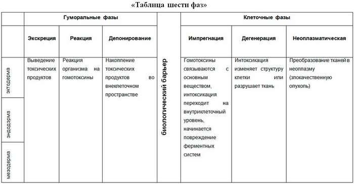 Таблица гомотоксикоза