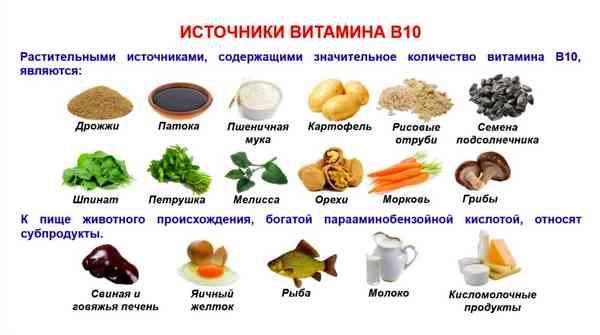 Иллюстрация, в каких продуктах содержится витамин В10